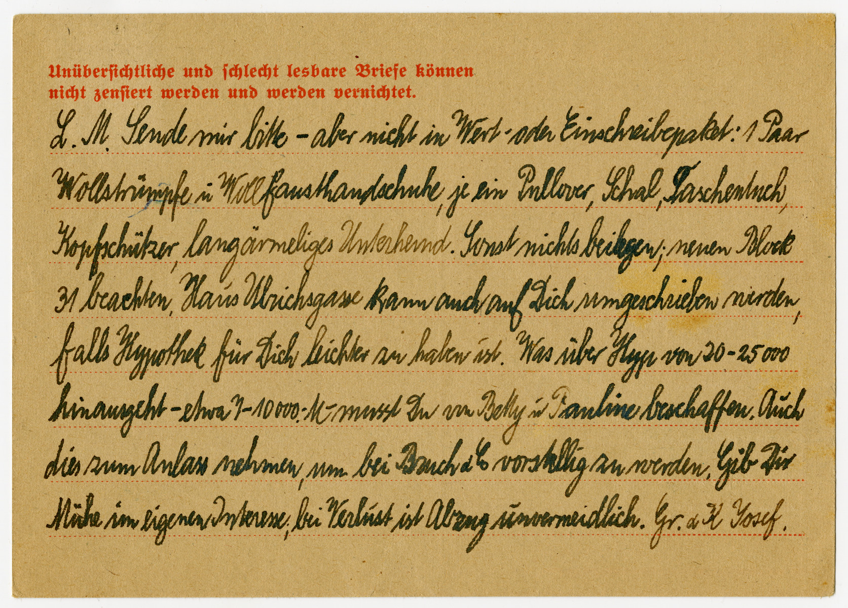 Verso of a postcard sent from the Buchenwald concentration camp.