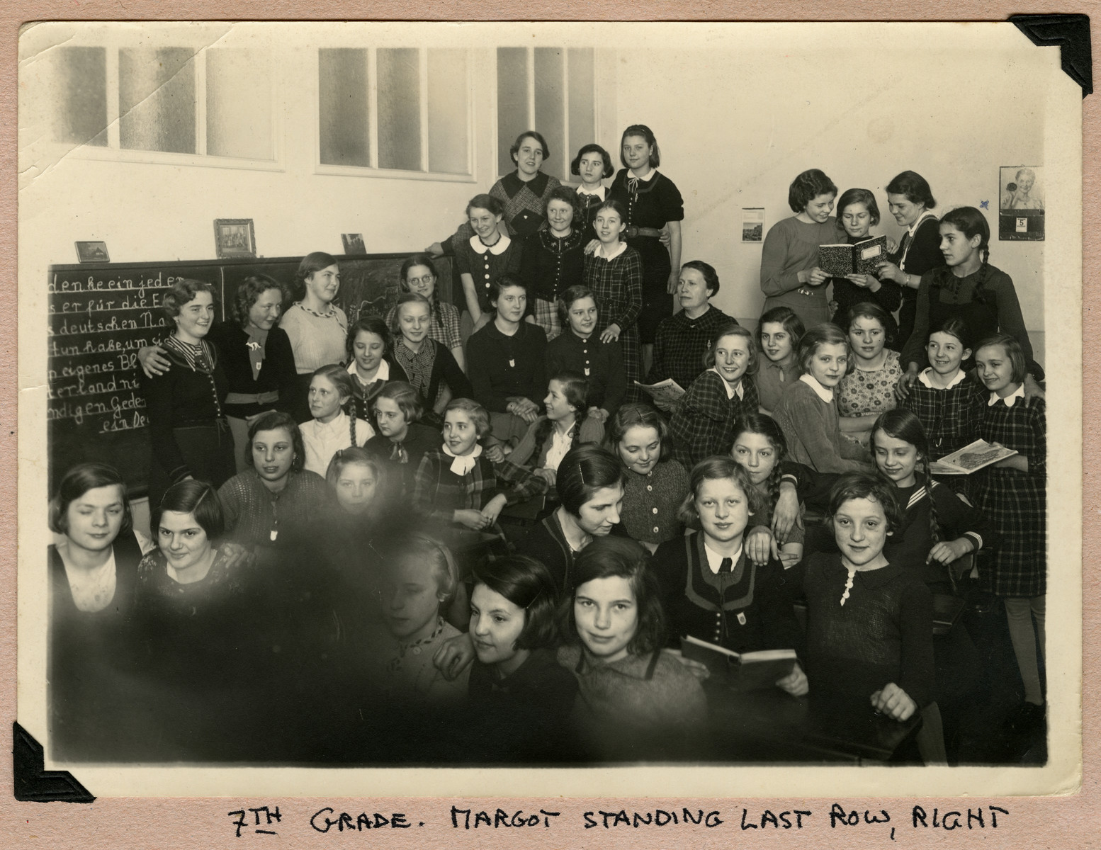 Portrait of 7th grade German school girls in their classroom in Cologne.    Margot Alt is standing in the back row, far right.