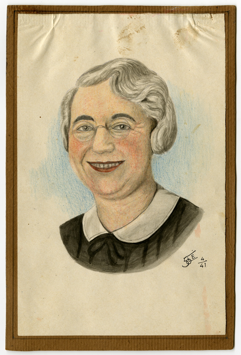 Watercolor of Clara Reiss Feigenbaum painted in occupied Belgium.  She was born March 23, 1892 near Schwaebisch Hall, Germany.