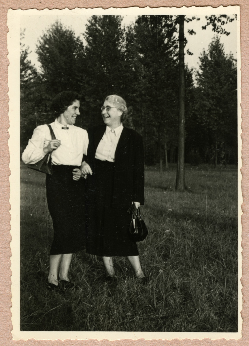 Margot Feigenbaum chats with her mother-in-law Clara in a park in Belgium.