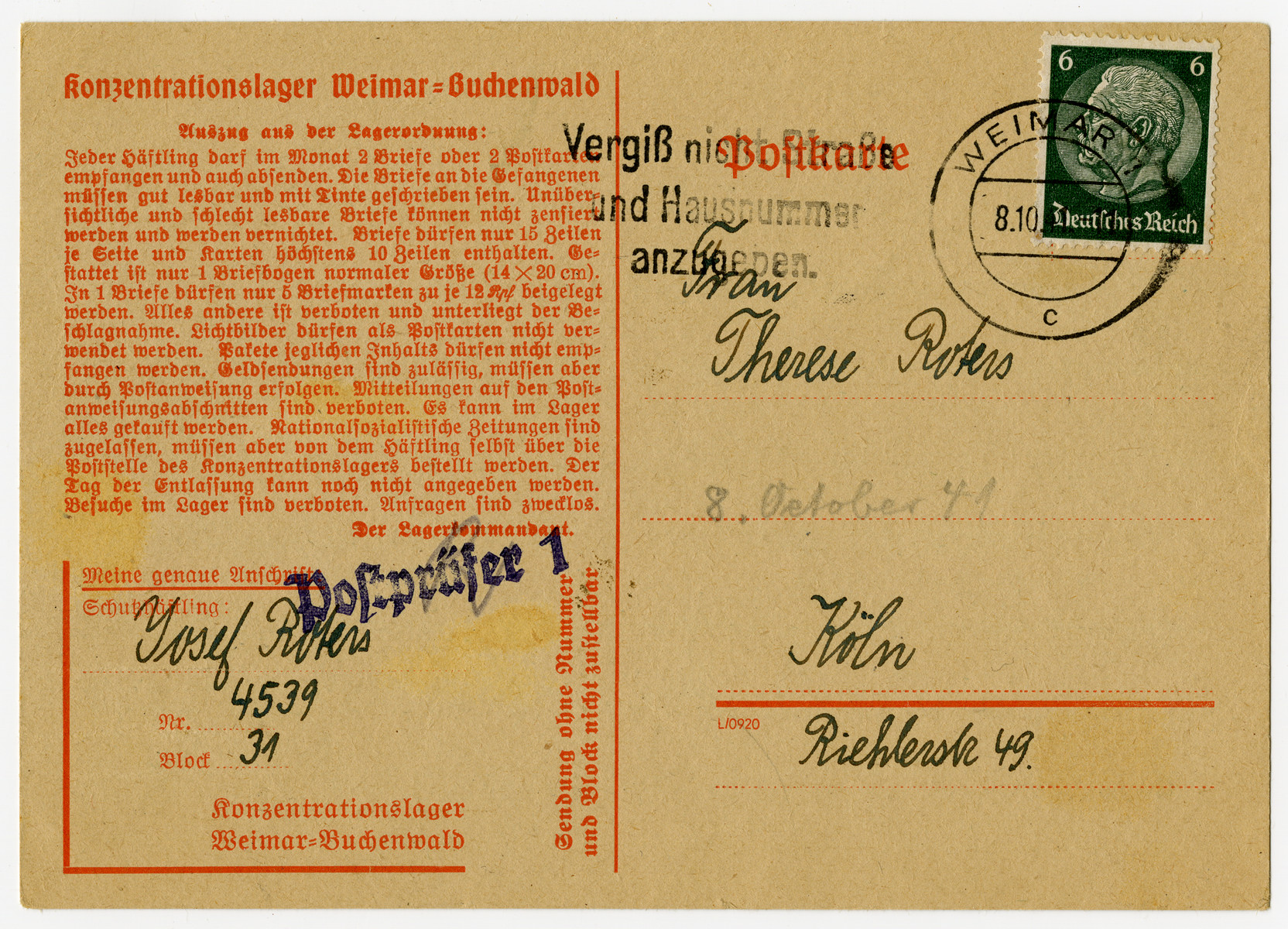 Postcard sent from the Buchenwald concentration camp.