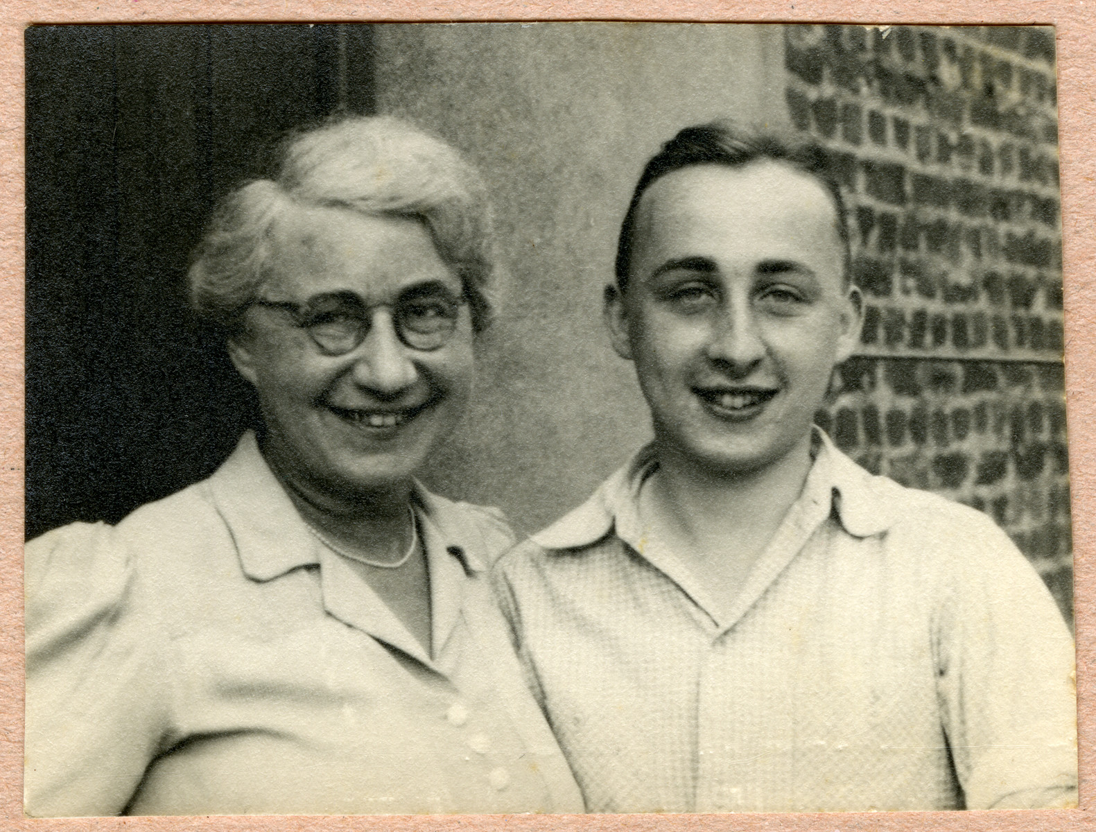 Werner Feigenbaum poses with his mother Clara after liberation.