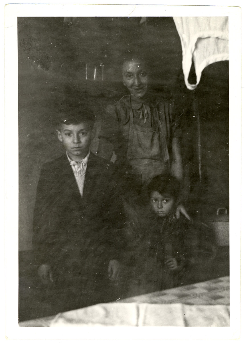 """A woman poses with her two children in her room in the Dieburg displaced persons' camp.  The family pictured is probably the Rubinstein famiuy:e Lieba and her children Marek (age 7) and Frieda (age 3).  Maurice Levitt wrote the following about the Rubinstein family in his diary: """"When Hitler's hordes invaded Poland, they fled to Russia.  While still in Warsaw little Marek was hit in the head by Schrapnel.  He was in a children's hospital at the time but the Nazis spared no hospital.  When they fled they left behind them the wife's parents, her three brothers and her sister.  When they arrived in Russia, they were first sent to Vologda about 25 miles from Leningrad, but Hitler's armies were getting too near for safety, so in 1940, they were removed to Samarkand where the climate is very -- very much like Palestine as she made the comparison most lovingly -- as though everything in Palestine must be perfect.  There they remained and until 1946.  When the bombs ceased to fall and theoretical peace was declared, they elected to return to Warsaw and were provided with transportation and provisions.  Upon their arrival they found that the parents and sister were burned in the crematorium in Treblinka -- the notorious death camp and that the brothers were starved and beaten to death in Majdanek.  In the meantime, the brutal Poles were making pograms continually so that their lives were in constant danger.  Thus they fled to the American Zone in Germany, first arriving in Babenhausen and then transferred to Dieberg where they are at the present time.  They have no kin anywhere in the entire world and their sole desire and goal is Palestine.  The little family group gathered around the dilapidated parlor stove which must have seen its day 20 years ago.  Overhead the clothesline from which dripping raggedy clothes were suspended, was stretched diagonally across the room.  In the corner, some more old clothes lay soaking in the sloppy grey water which exuded as washday odor.  """