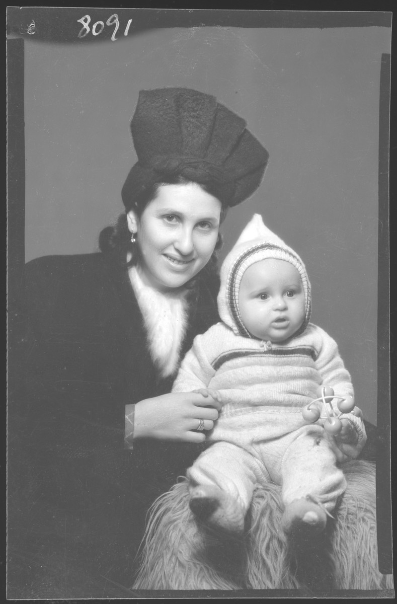 Studio portrait of Erne Berkovits and her child.
