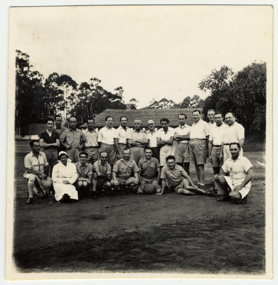 Group portrait of the men's soccer team in an enemy aliens' camp in Nyasaland, Africa.    Among those pictured is Kalman Haber.