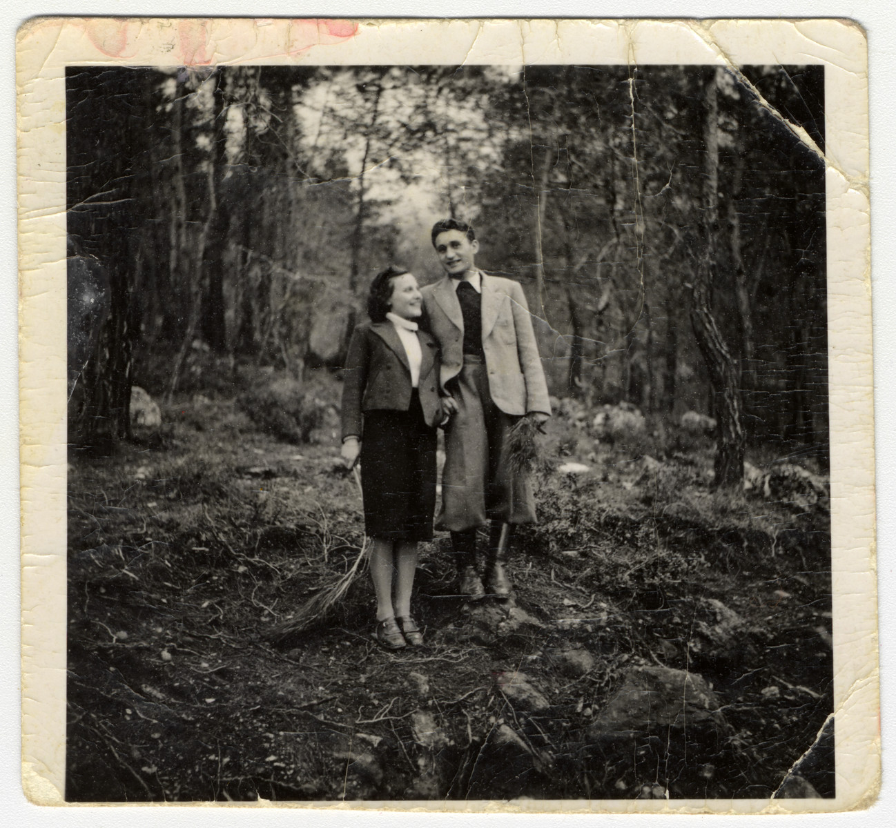 Austrian Jewish refugees, Lily and Kalman Haber, go on an excursion in a forest in Cyprus.