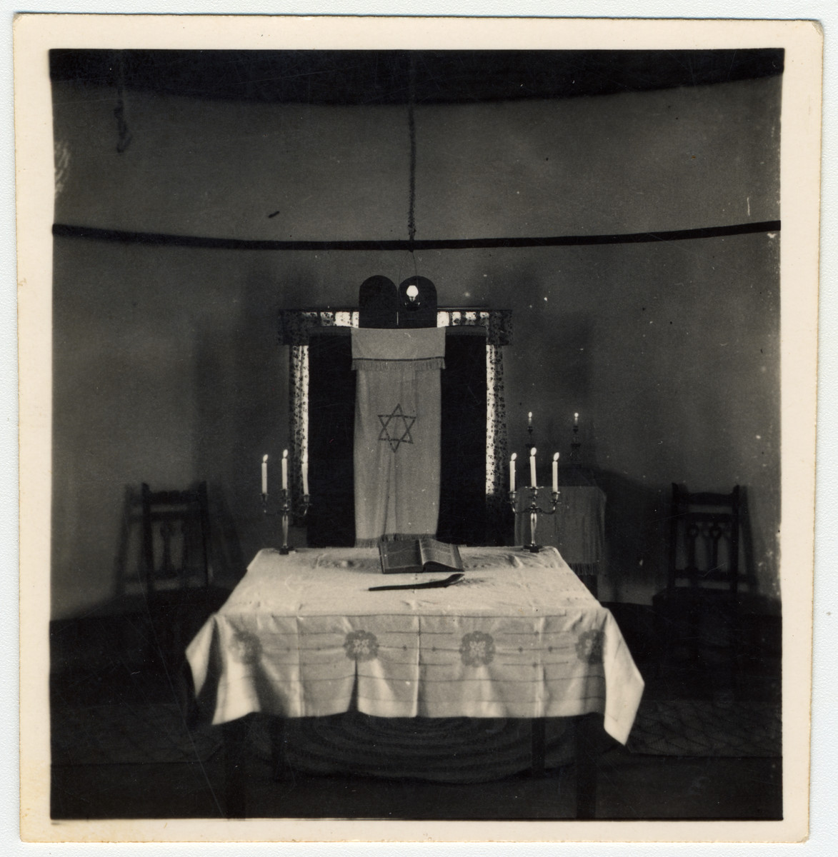 View of a Torah ark in a make-shift synagogue in an internment camp for enemy aliens in Nyasaland.