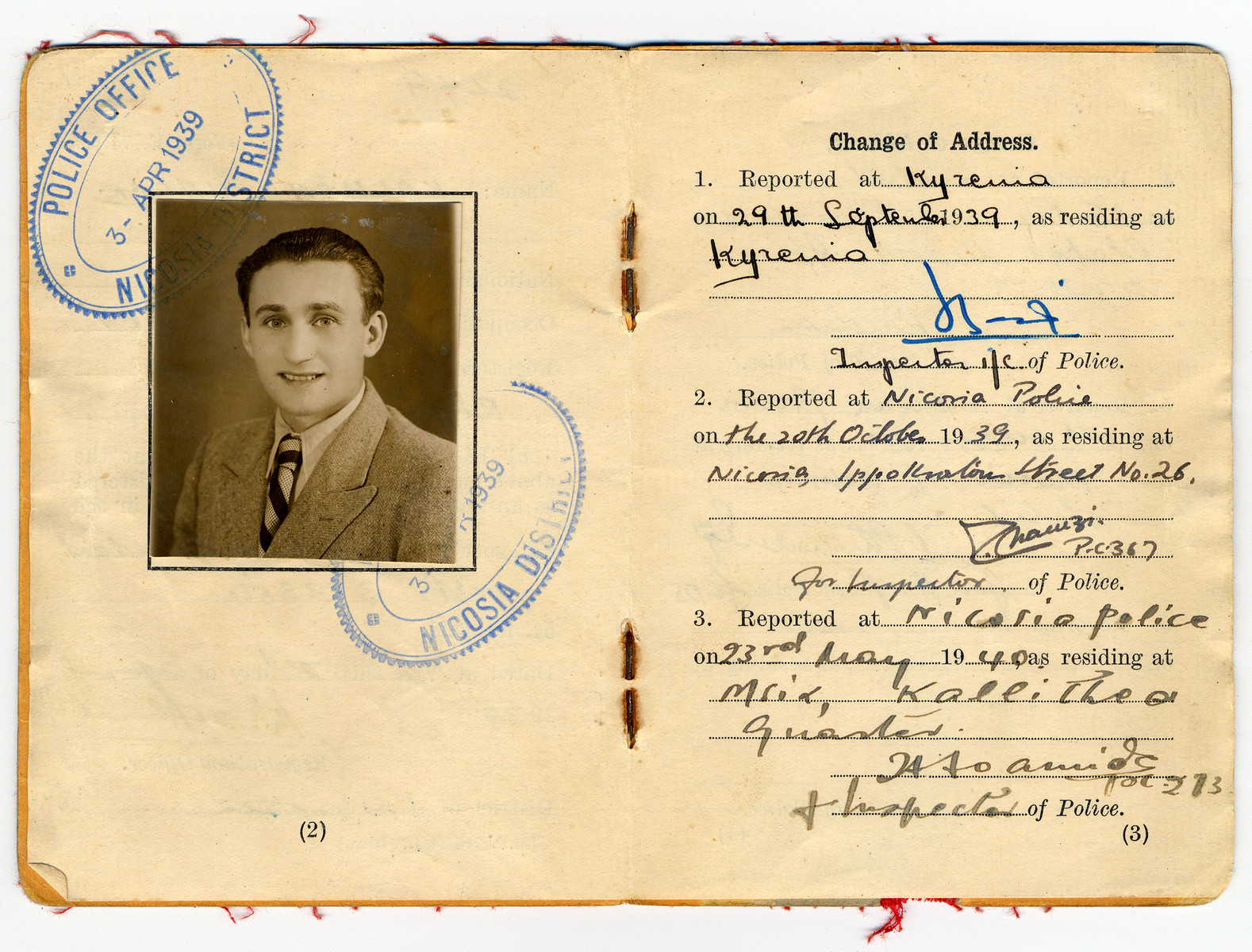 Inside pages of an enemy alien registration identity card issued in Cyprus to Kalman Haber, an Austrian Jewish refugee.