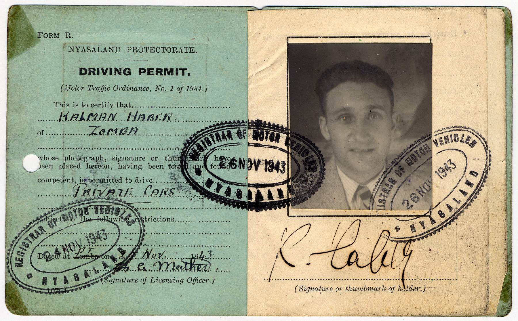 Driver's license issued to Kalman Haber, an Austrian Jew, who had been deported to Nyasaland as an enemy alien.