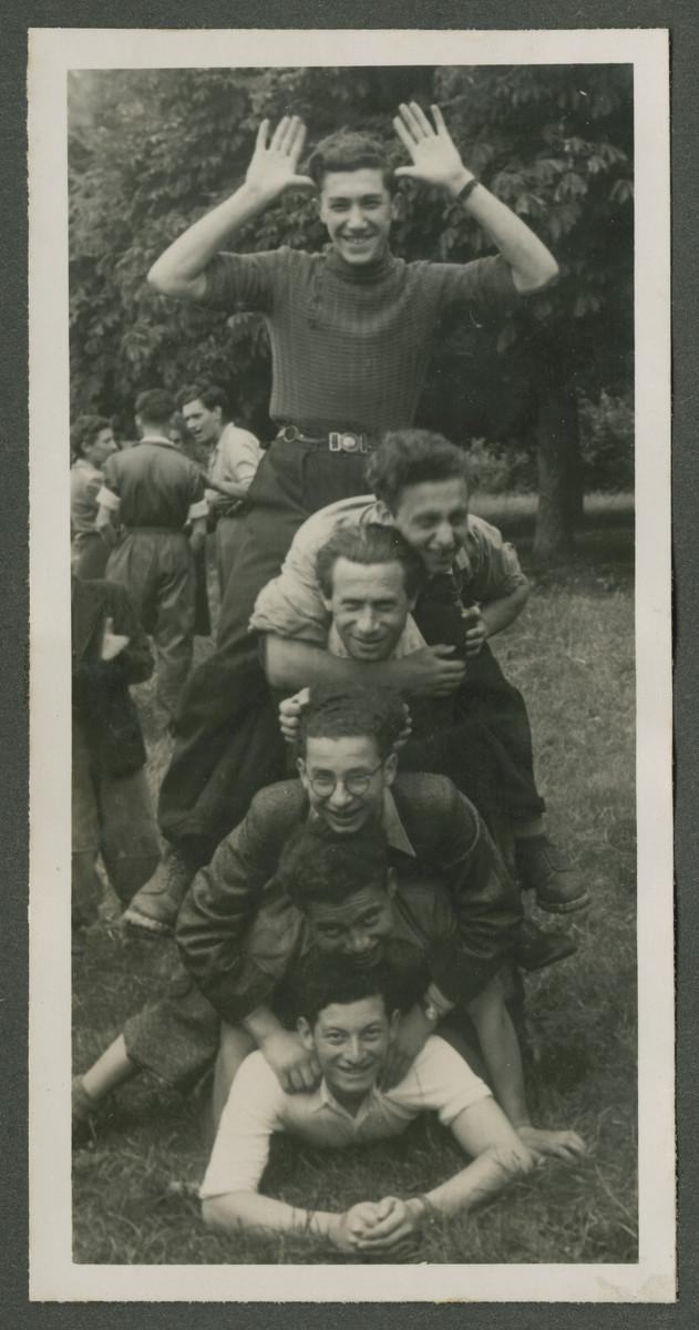 Jewish teens make a human pyramid in a Zionist children's home in Switzerland.