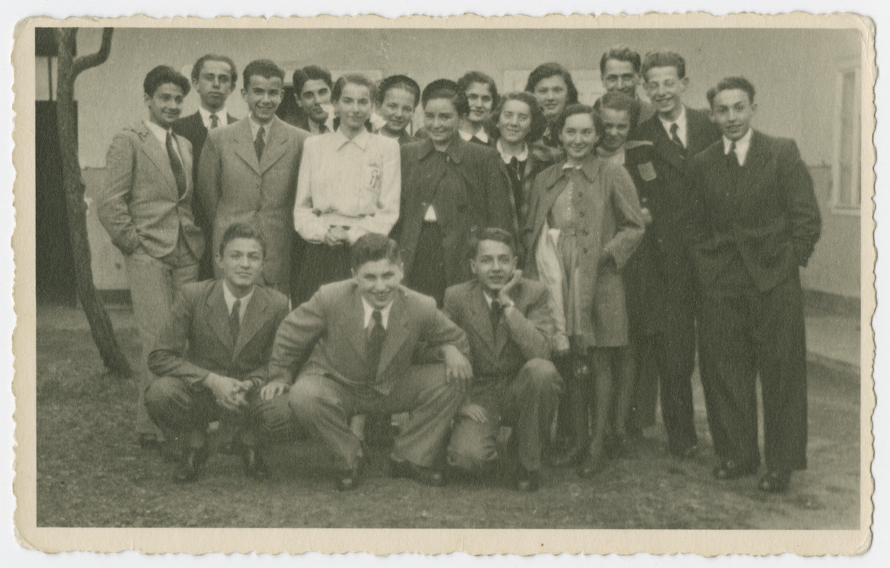 Group portrait of teenagers from the Jewish lyceum in Cluj taken shortly before the German occupation.  Edith Lovy is standing third from the right.