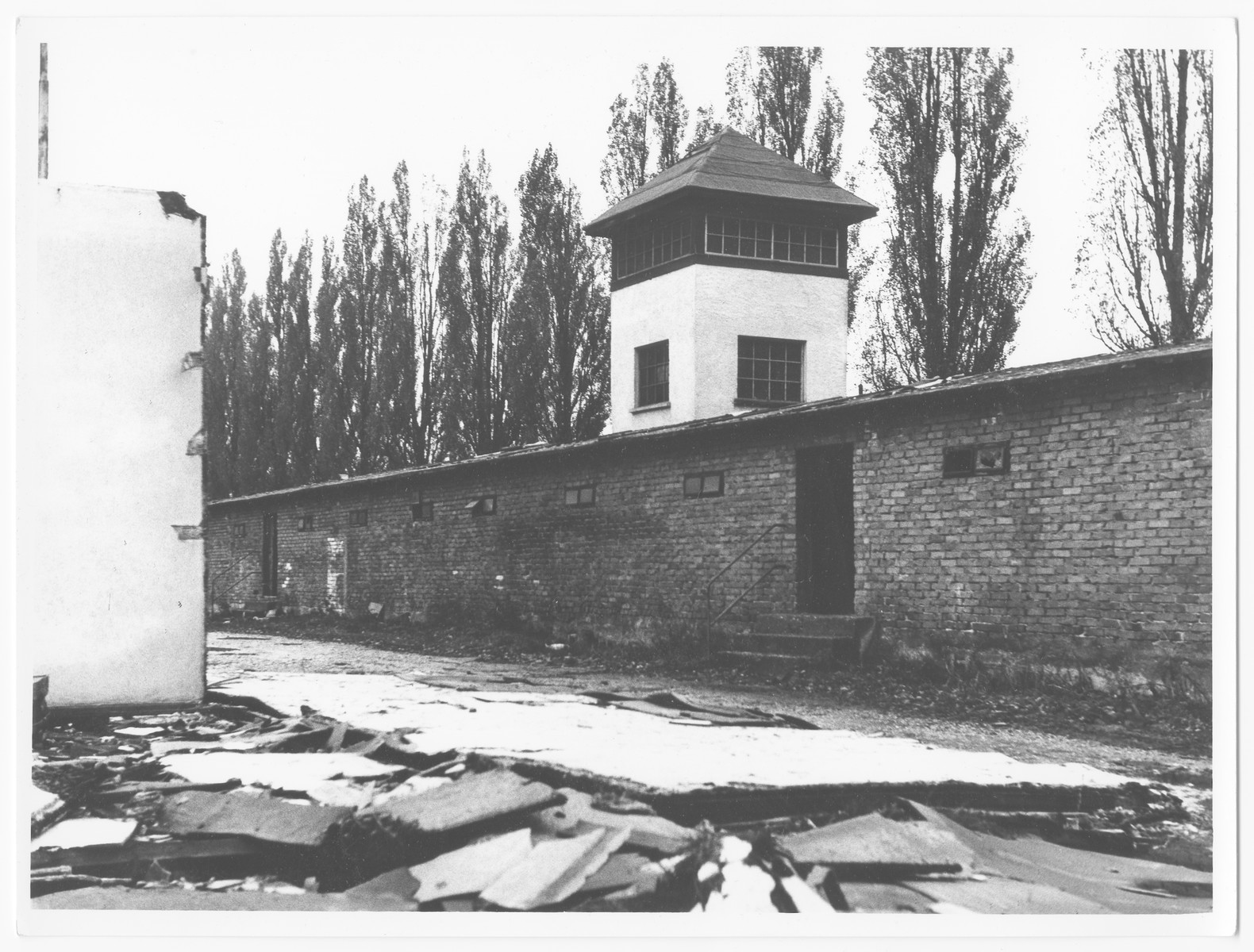Postwar photograph of the watch tower of the Dachau concentration camp.