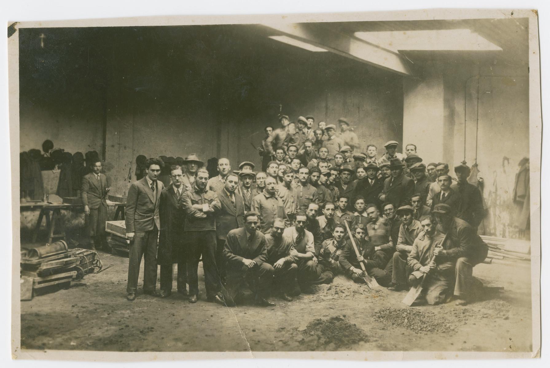 Group portrait of members of a kibbutz hachshara in prewar Poland.