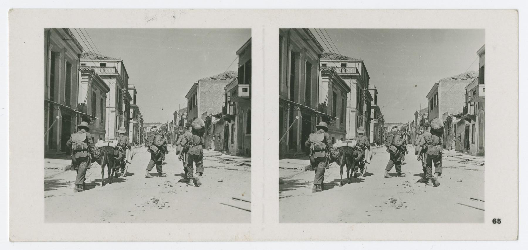 A stereograph of Nazi paratroopers invading Chania, Crete.  Original caption in German reads: Fallschirmjäger in den Strassen der kretischen Hauptstadt Chanea unmittelbar nach deren Einnahme