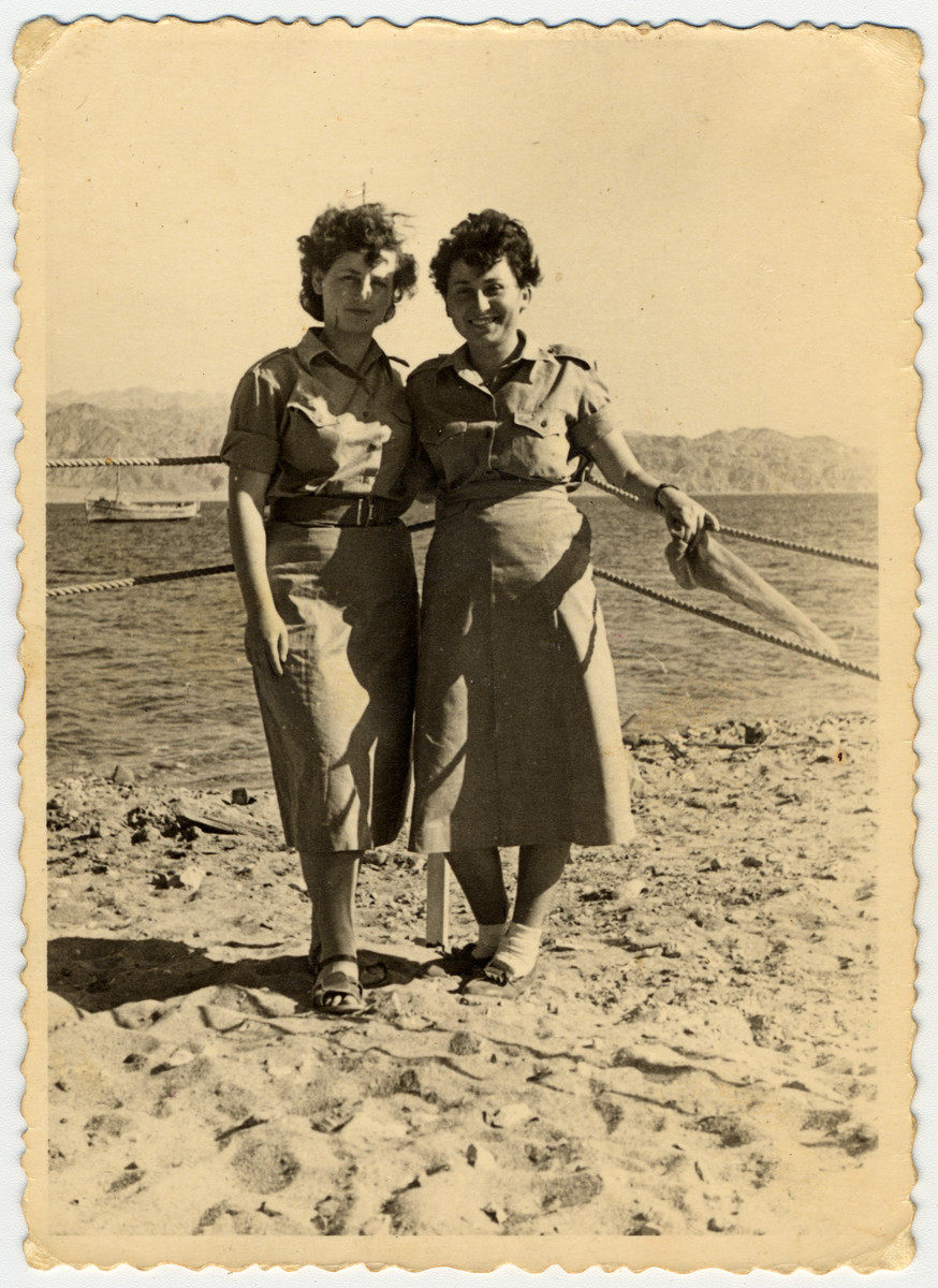 Sala Perec poses with another female soldier in the Israeli army.