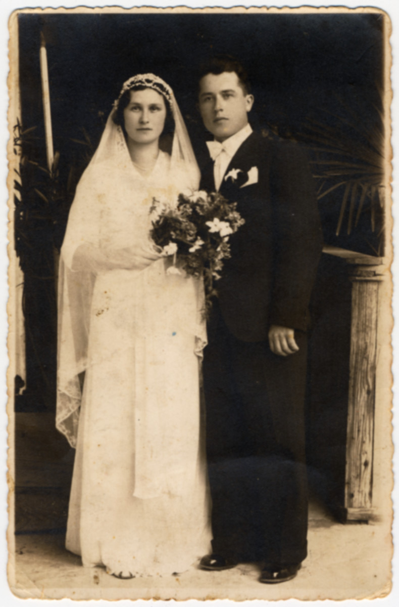 Wedding portrait of a Romanian Jewish couple.  Pictured is Eliezer Pollak (the uncle of the donor) and his bride Betta.  Both later perished in the Holocaust.