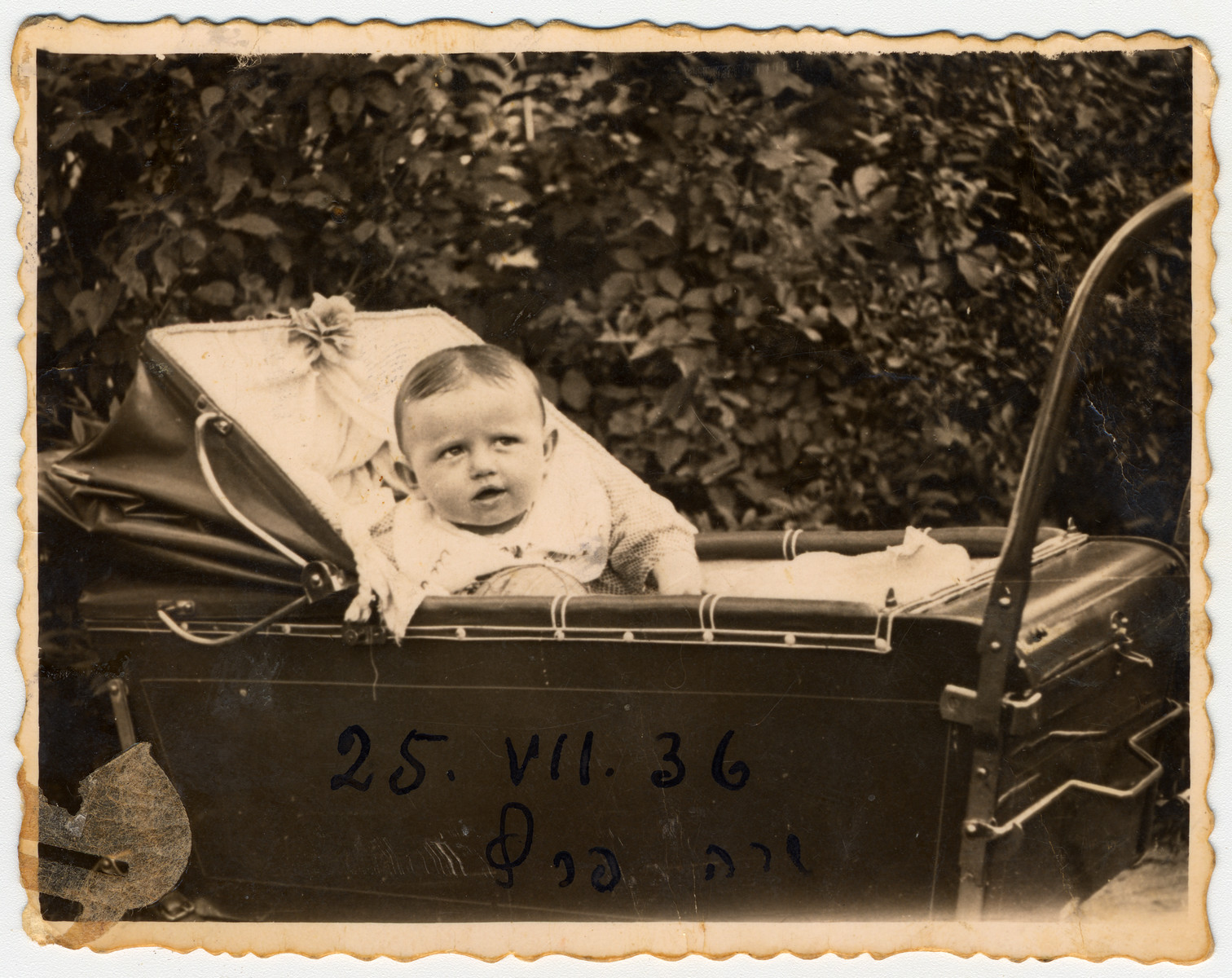 Sala Perec rests in her baby carriage in prewar Chelm.