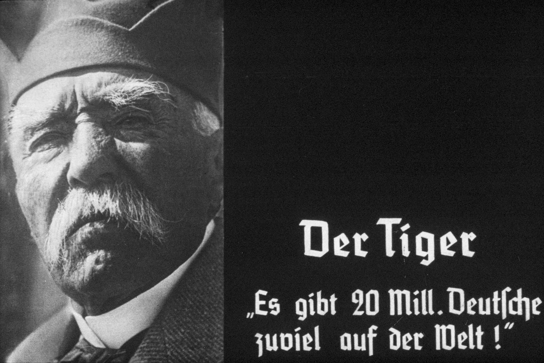 "35th slide from a Hitler Youth slideshow about the aftermath of WWI, Versailles, how it was overcome and the rise of Nazism.  Der Tiger ""Es gibt 20 Mill. Deutsche zuviel auf der Welt!"" // There are 20 million Germans too many in the world"
