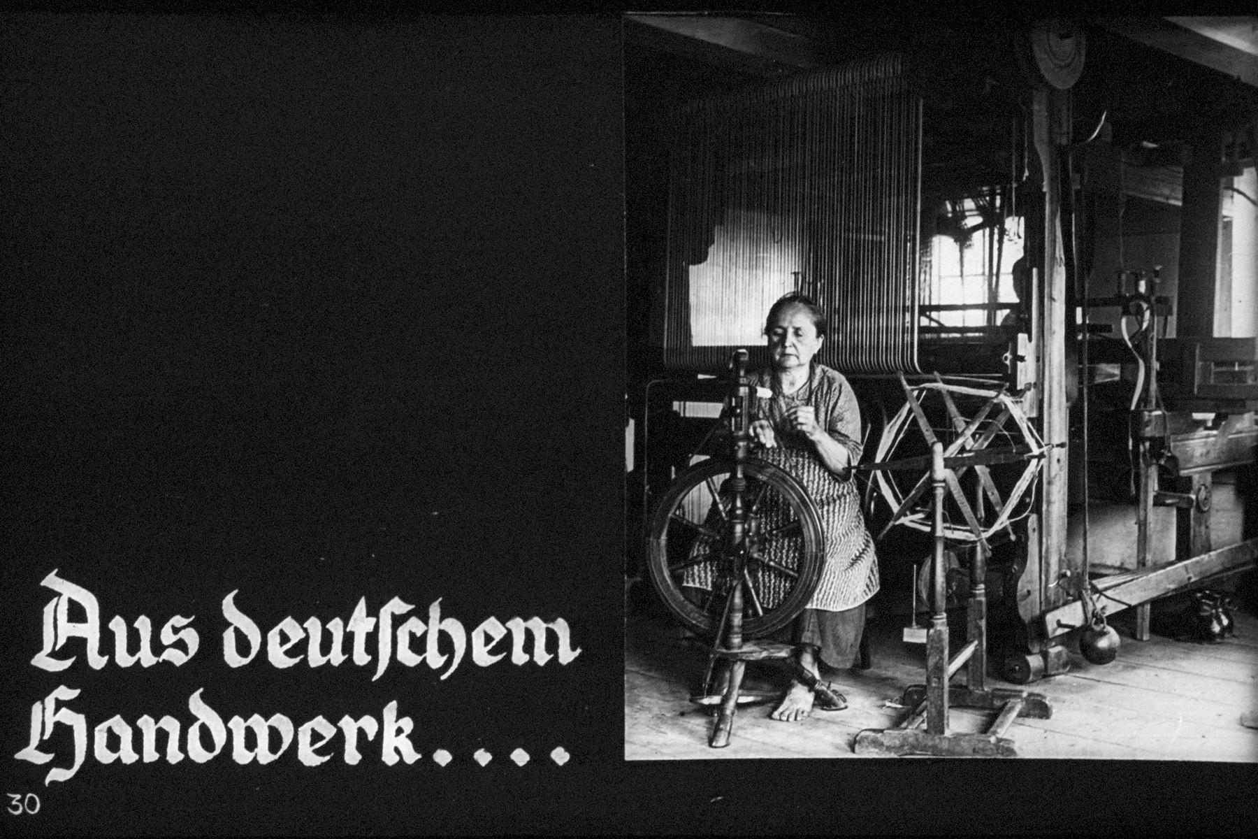 "30th Nazi propaganda slide of a Hitler Youth educational presentation entitled ""German Achievements in the East"" (G 2) Aus deutschem handwerk... // From German trade"