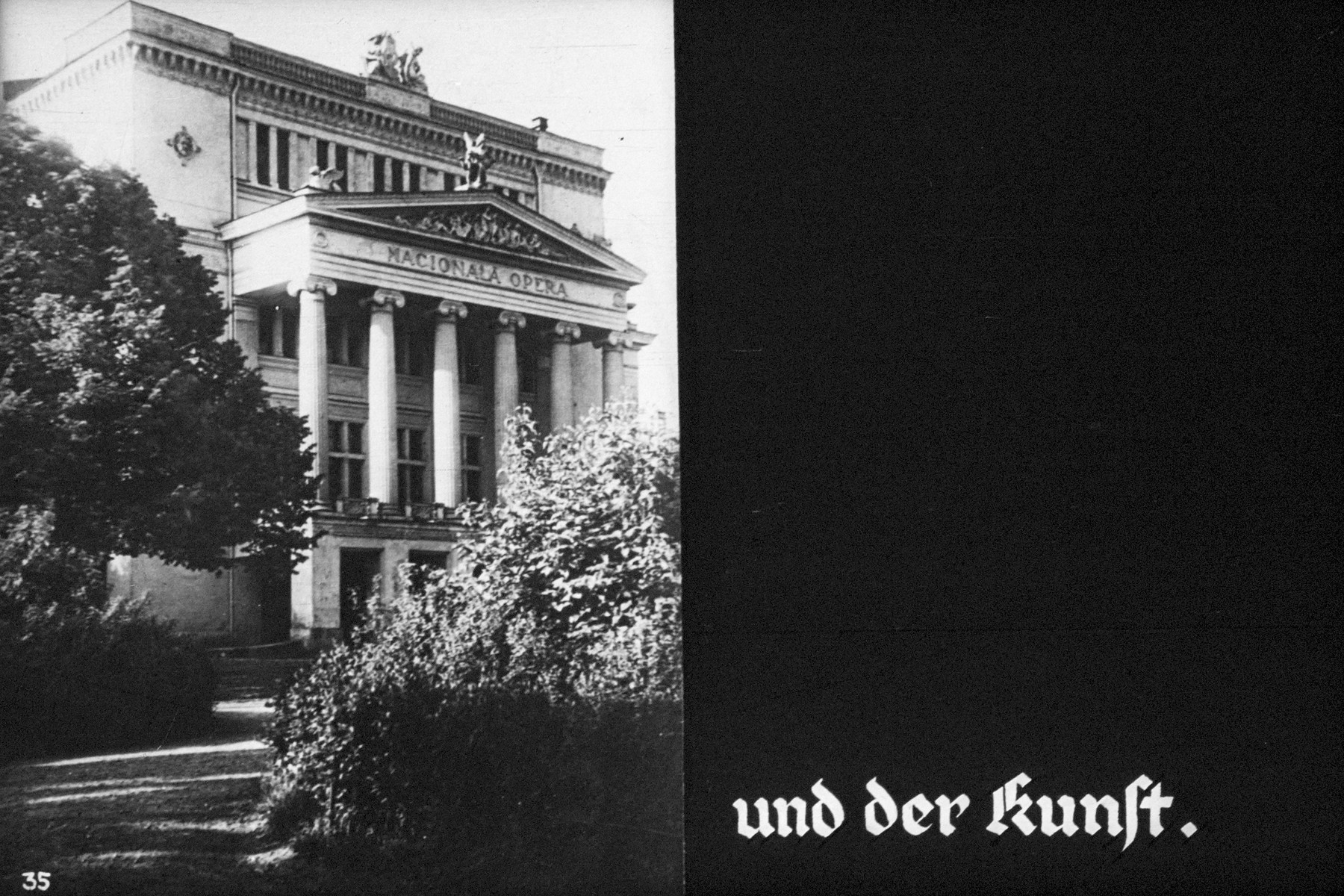 """35th Nazi propaganda slide of a Hitler Youth educational presentation entitled """"German Achievements in the East"""" (G 2)  und der kunst // and art"""