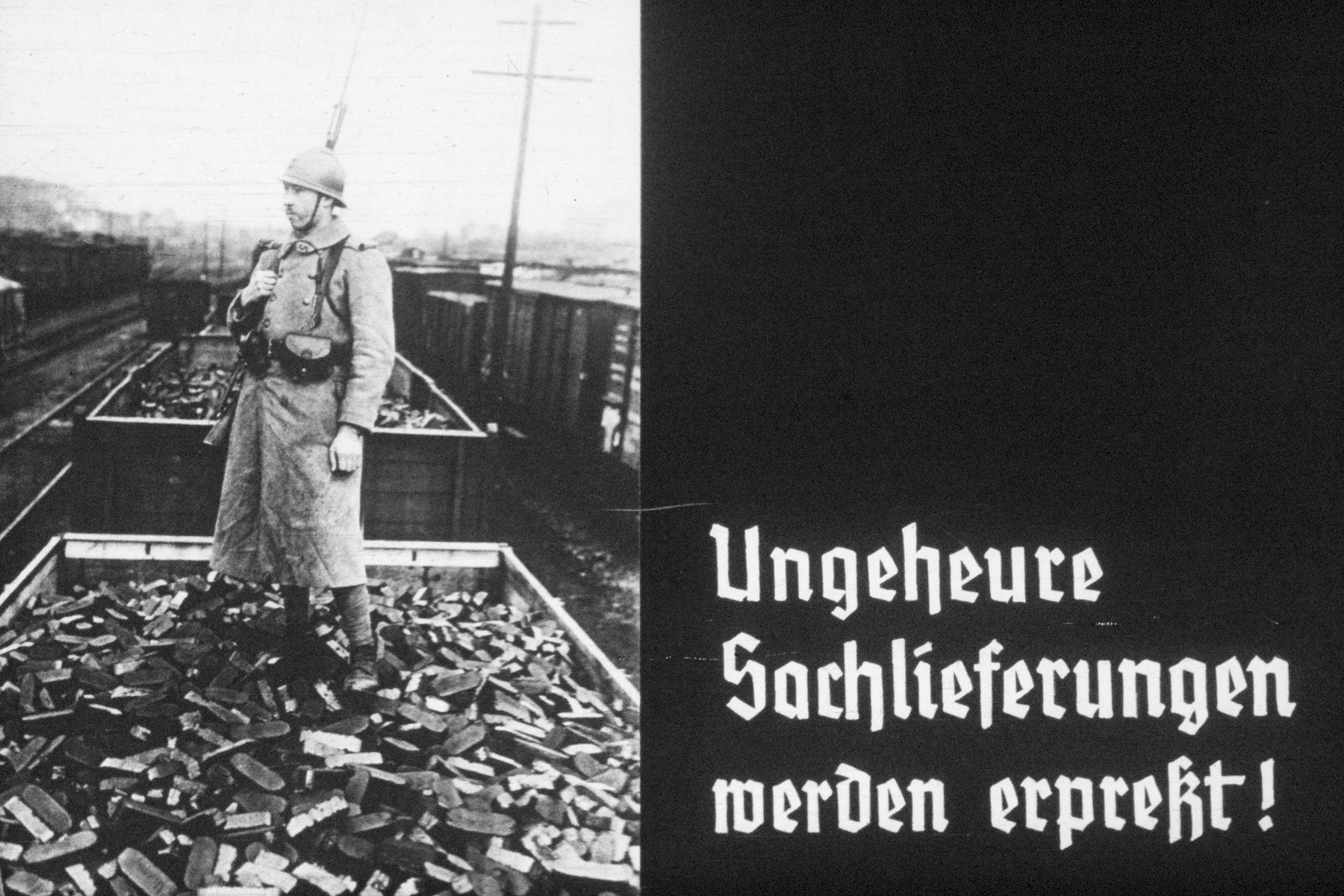 24th slide from a Hitler Youth slideshow about the aftermath of WWI, Versailles, how it was overcome and the rise of Nazism.  Ungeheure Sachlieferungen werden erpresst! // Sachlieferungen are being blackmailed!