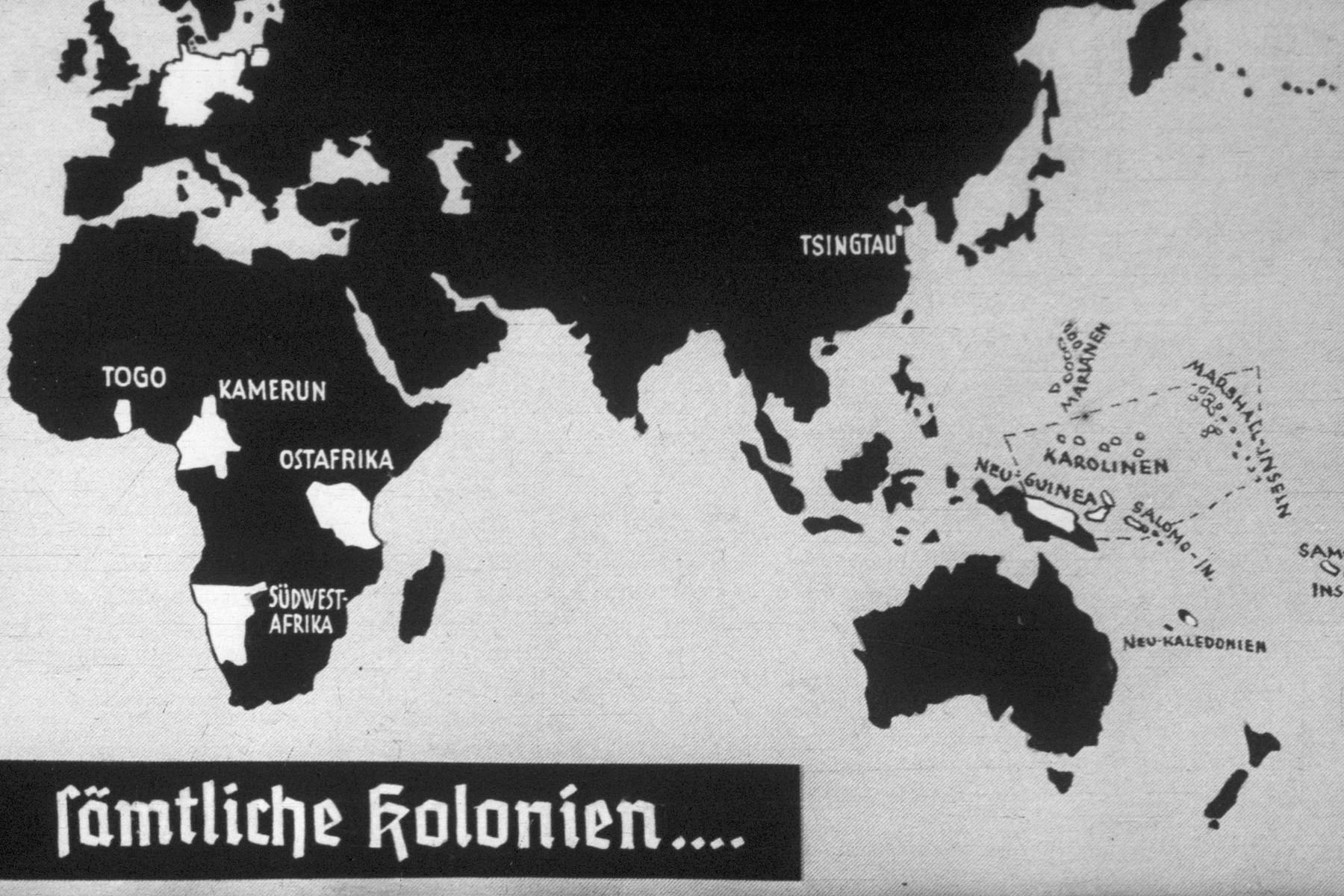 31th slide from a Hitler Youth slideshow about the aftermath of WWI, Versailles, how it was overcome and the rise of Nazism.  sämtliche kolonien... // all the colonies