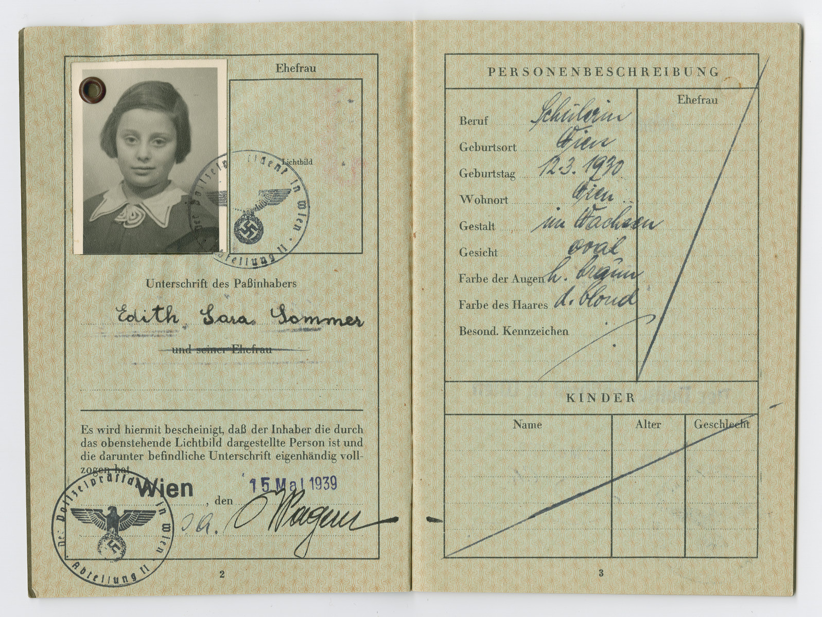 Identification papers issued to Edith Sara Sommers stating she was born in Vienna on March 12, 1930.  Sara was not her real middle name, but on August 17, 1938 Nazi officials ordered that all Jewish men assume the middle name Israel, and all Jewish women take the middle name Sara
