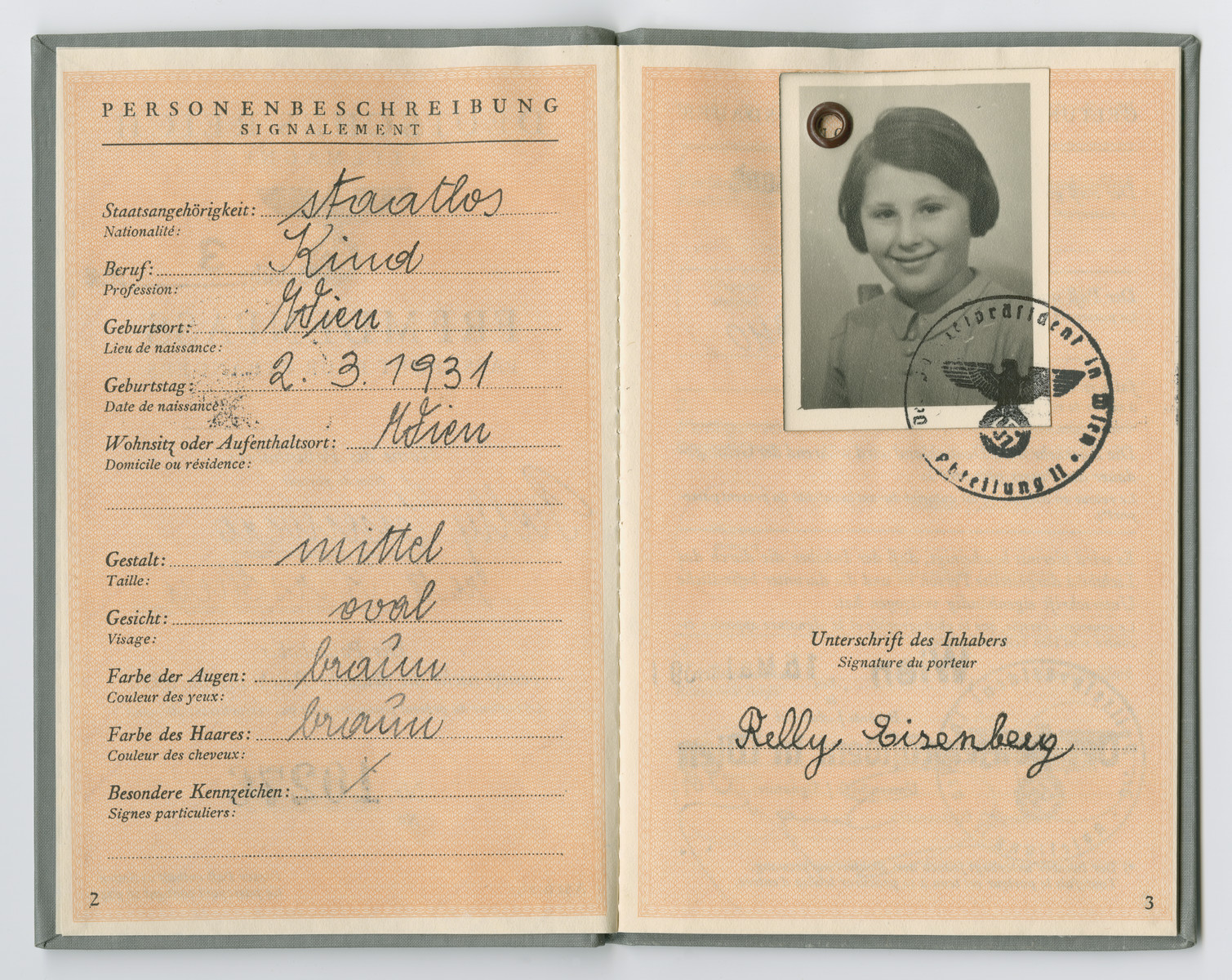 Identification papers issued to Relly Eisenberg stating she was born in Vienna on March 2, 1931 but is officially stateless.