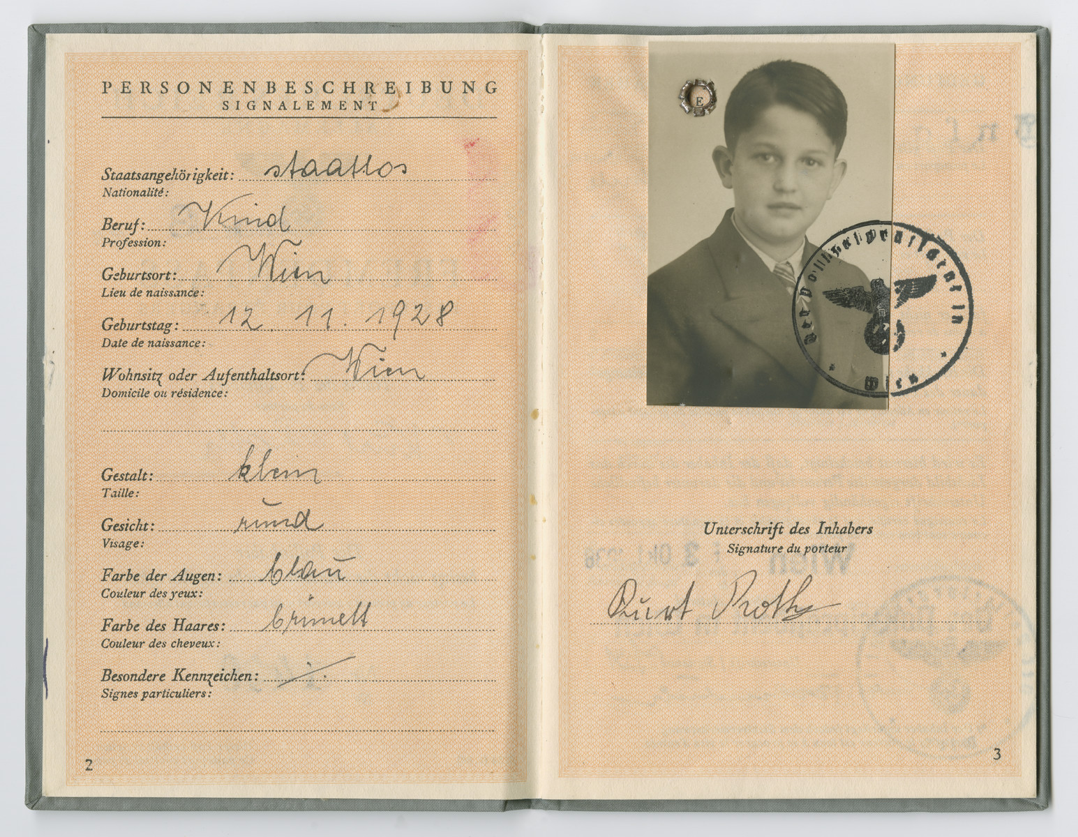 Identification papers issued to Kurt Roth stating he was born in Vienna on November 12, 1928 but is officially stateless.