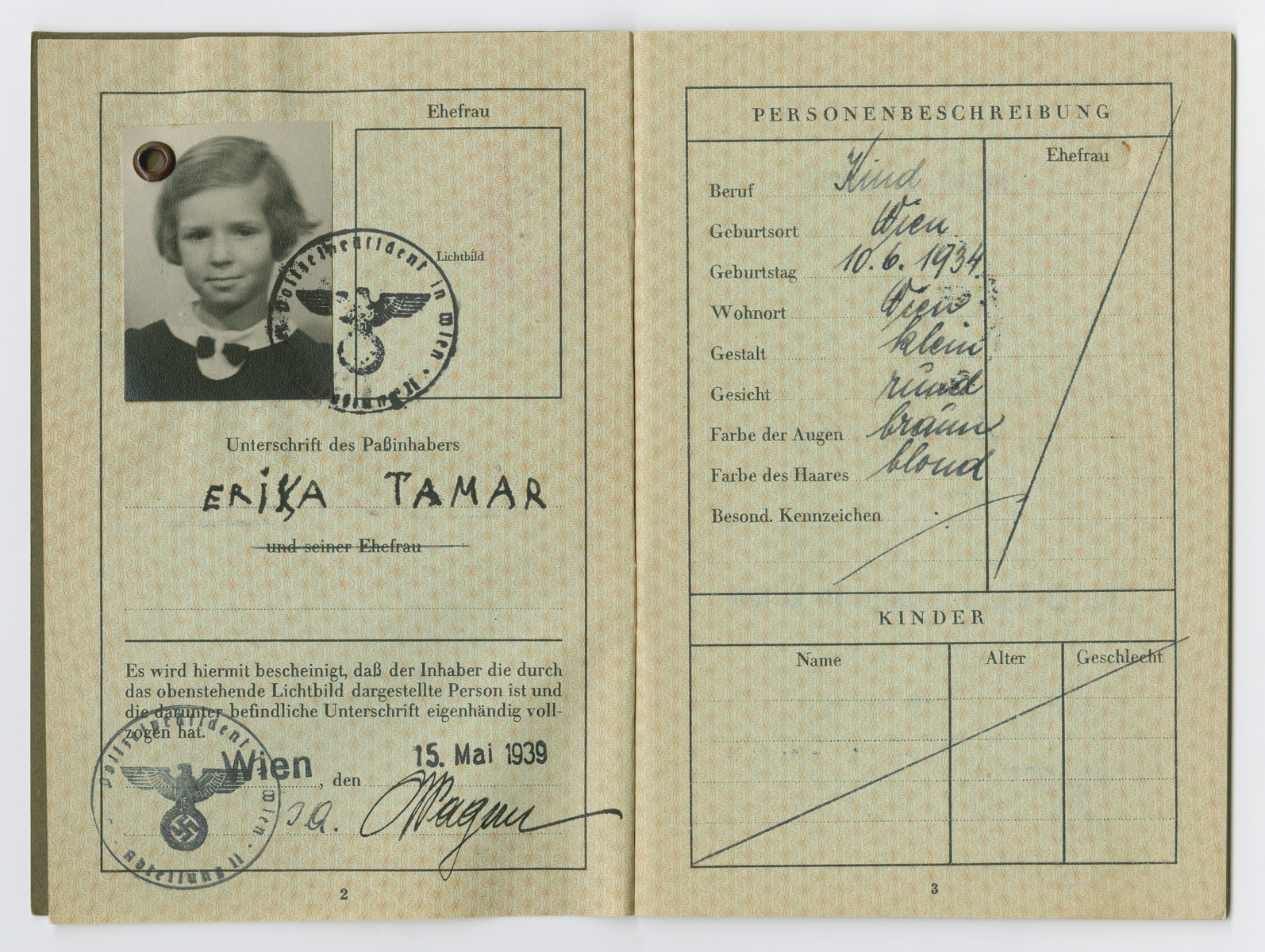 Identification papers issued to Erika Tamar stating she was born in Vienna on June 10, 1934.