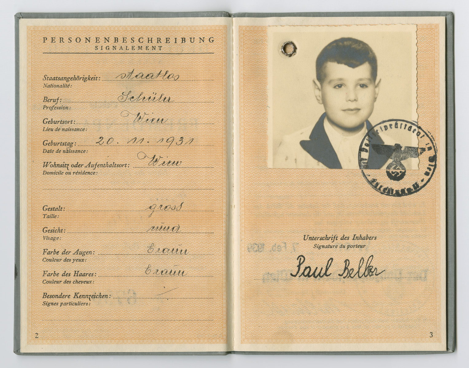 Identification papers issued to Paul Beller stating he was born in Vienna on October 20, 1931 but is officially stateless.