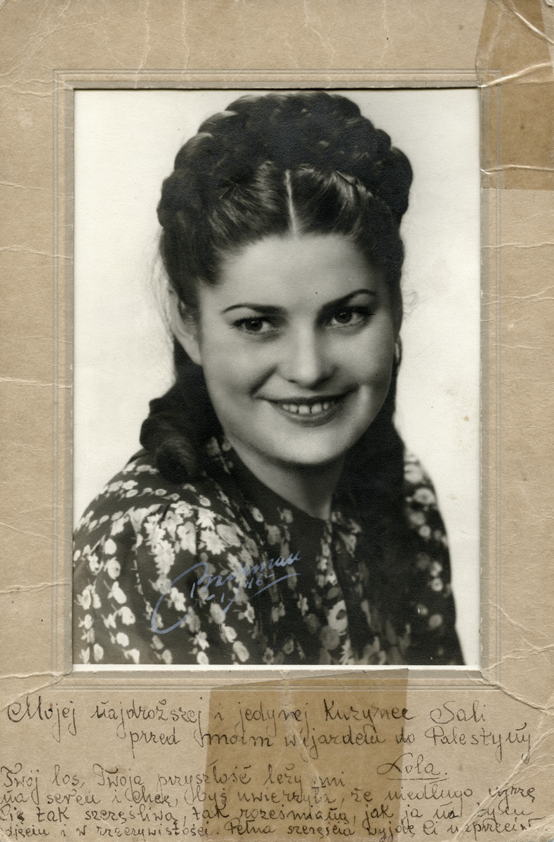 A photograph of Lola Hoppe, Sara Leicher's first cousin. The photograph was taken in Sweden. Lola Hoppe was a survivor of the Kiela Ghetto prior to her Aliyah to Palistine.