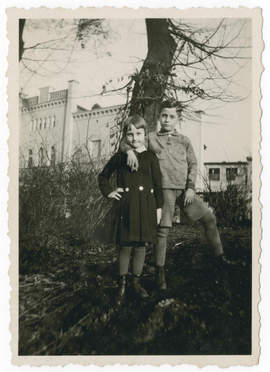 Ilse Oschinsky and her cousin Heinz Schleyer stand under a tree in a garden.