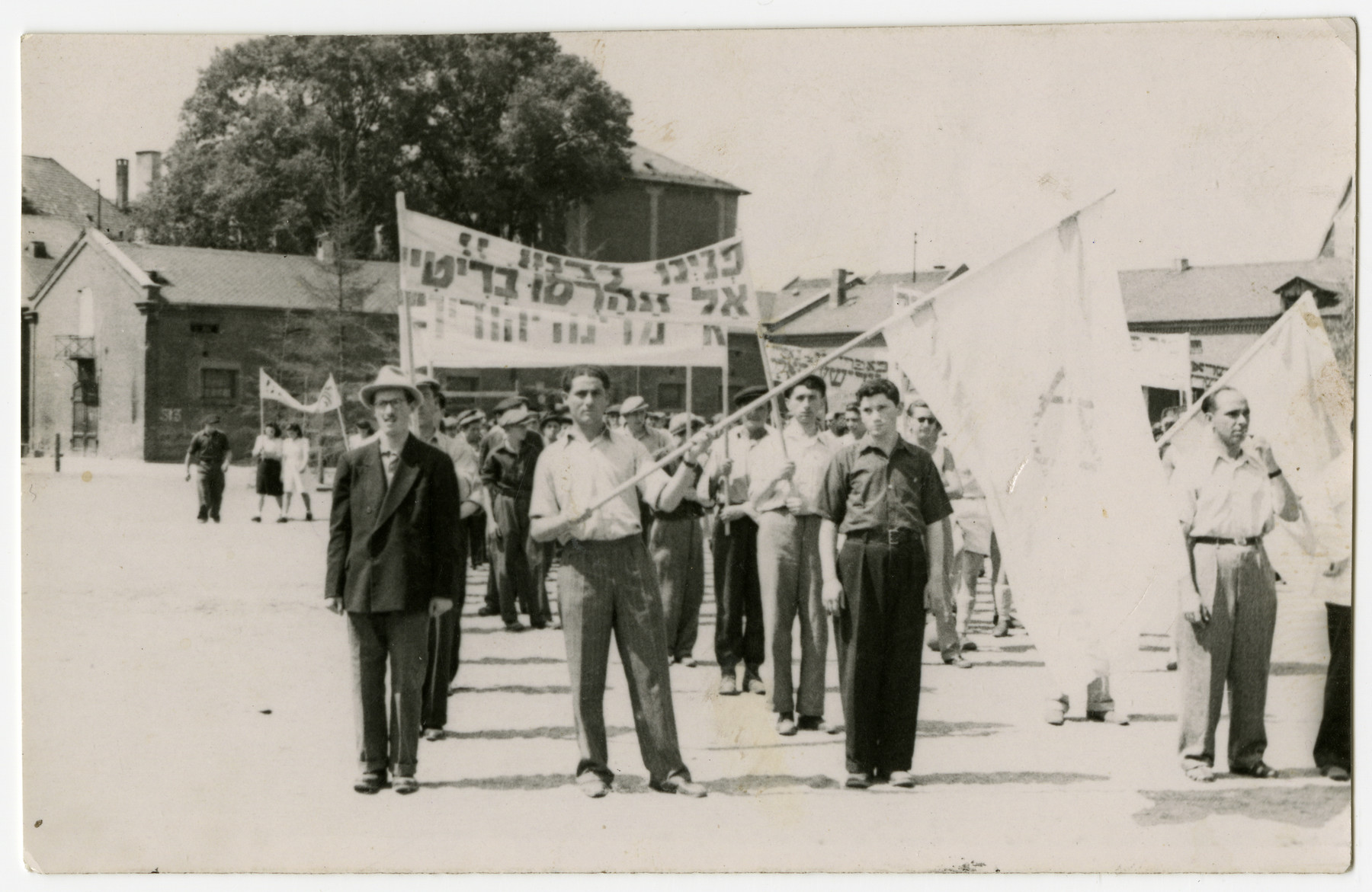 Jews in the Bamberg displaced persons camp demonstrate against the British policy in Palestine.