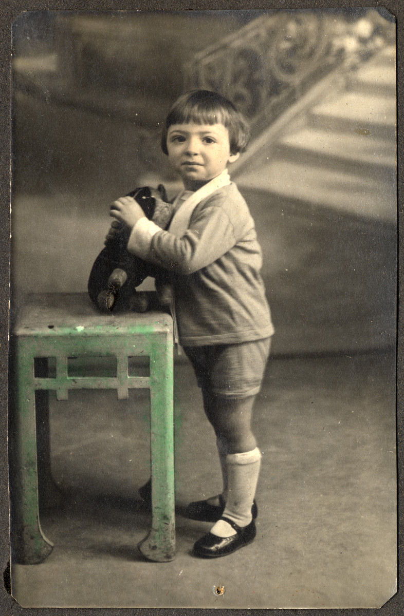 Colorized studio portrait of an unidentified boy.  This is one photograph from the album of Rosalia Dratler Roiter.  She later was deported to and perished at Auschwitz.