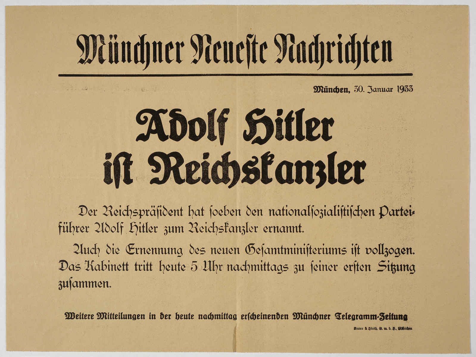 Poster announcing Hitler as the new Chancellor, dated the day after the election, 30 January 1933.