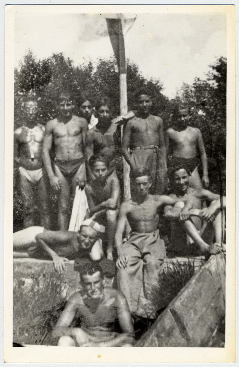 Members of the Warsaw Maccabi swim team at a practice.  This is the last photograph of the team prior to the start of World War II and the Holocaust.  Pictured standing from left are Zygmund Kupferstein (the coach), Samek Tytelman, Abram Suchowolski and Kazik Zybert.  Seated are Heniek Kulik and Dadek Einhorn.