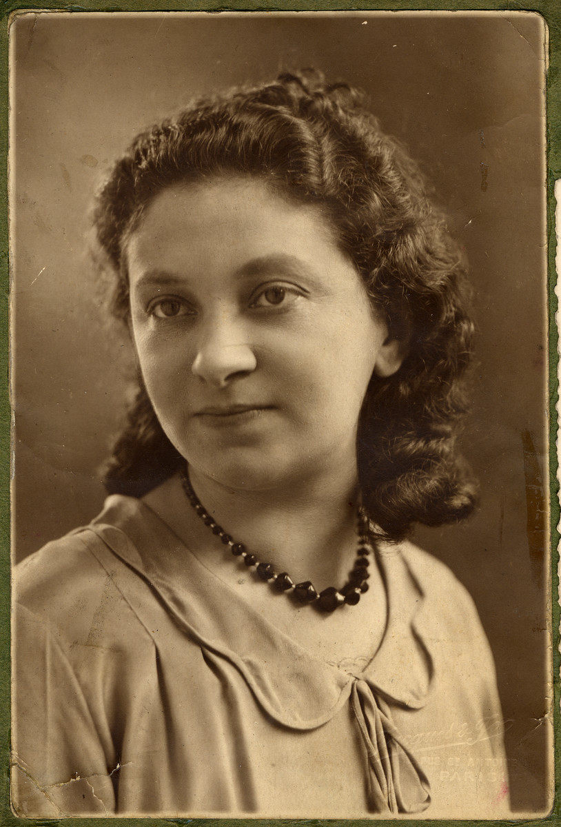 Studio portrait of Rosalia Dratler.  This is one photograph from the album of Rosalia Dratler Roiter.  She later was deported to and perished at Auschwitz.