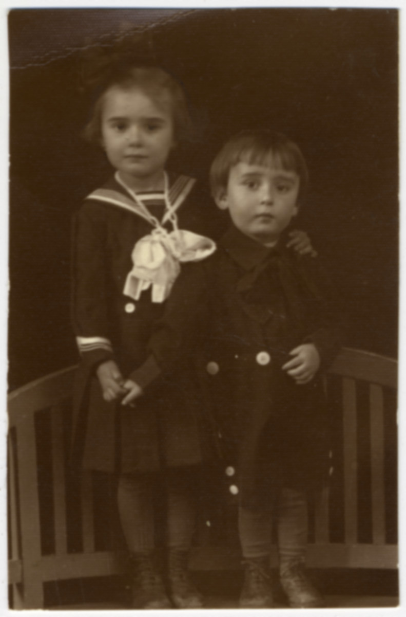 Studio portrait of two Jewish siblings in Sighet, both of whom perished in the Holocaust.  Pictured Suri and Ari Deutsch.  This is one photograph from the album of Rosalia Dratler Roiter.  She later was deported to and perished at Auschwitz.