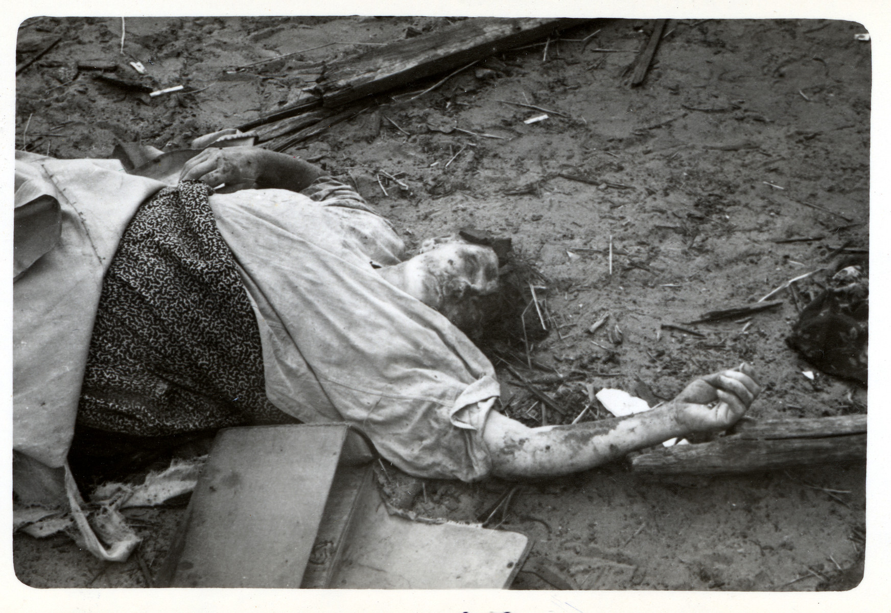 The corpse of a Polish woman who was killed during an air raid in besieged Warsaw.