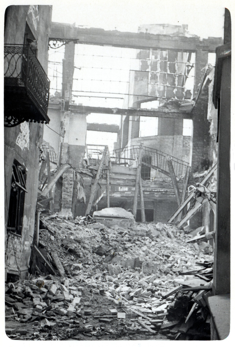View of a  bombed out section of Warsaw.