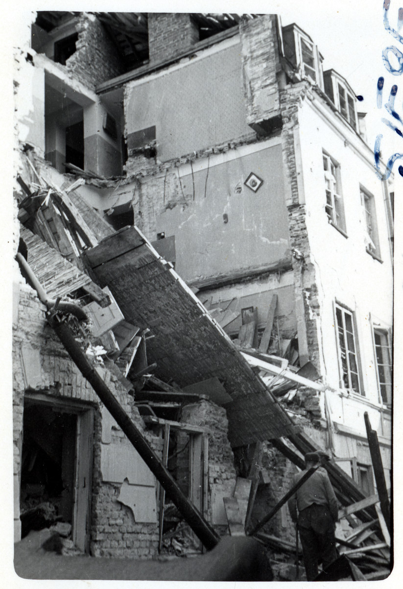 View of a bombed out apartment building in the besieged city of Warsaw.
