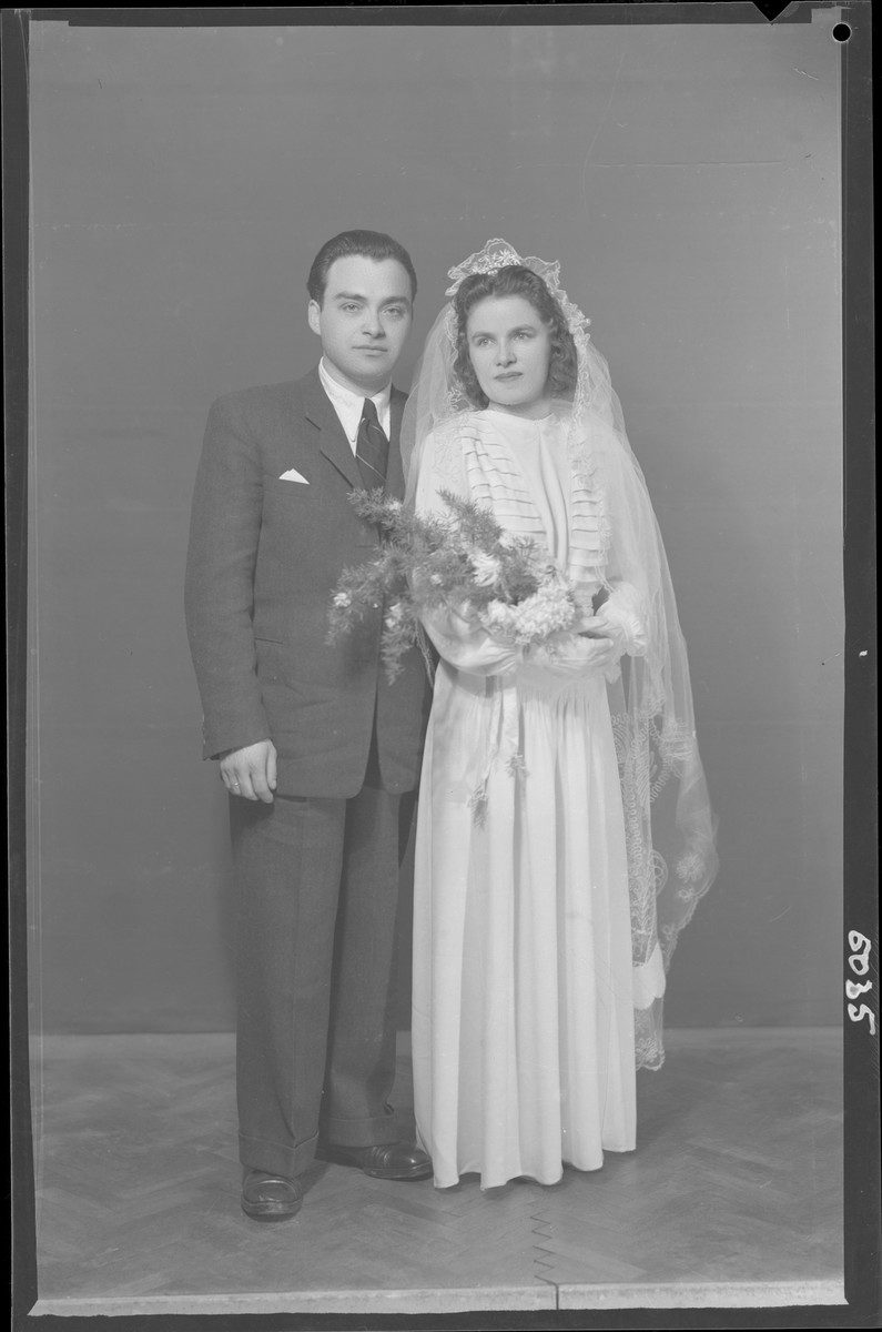 Studio wedding portrait of Dr. Lajos Weisz and his bride.
