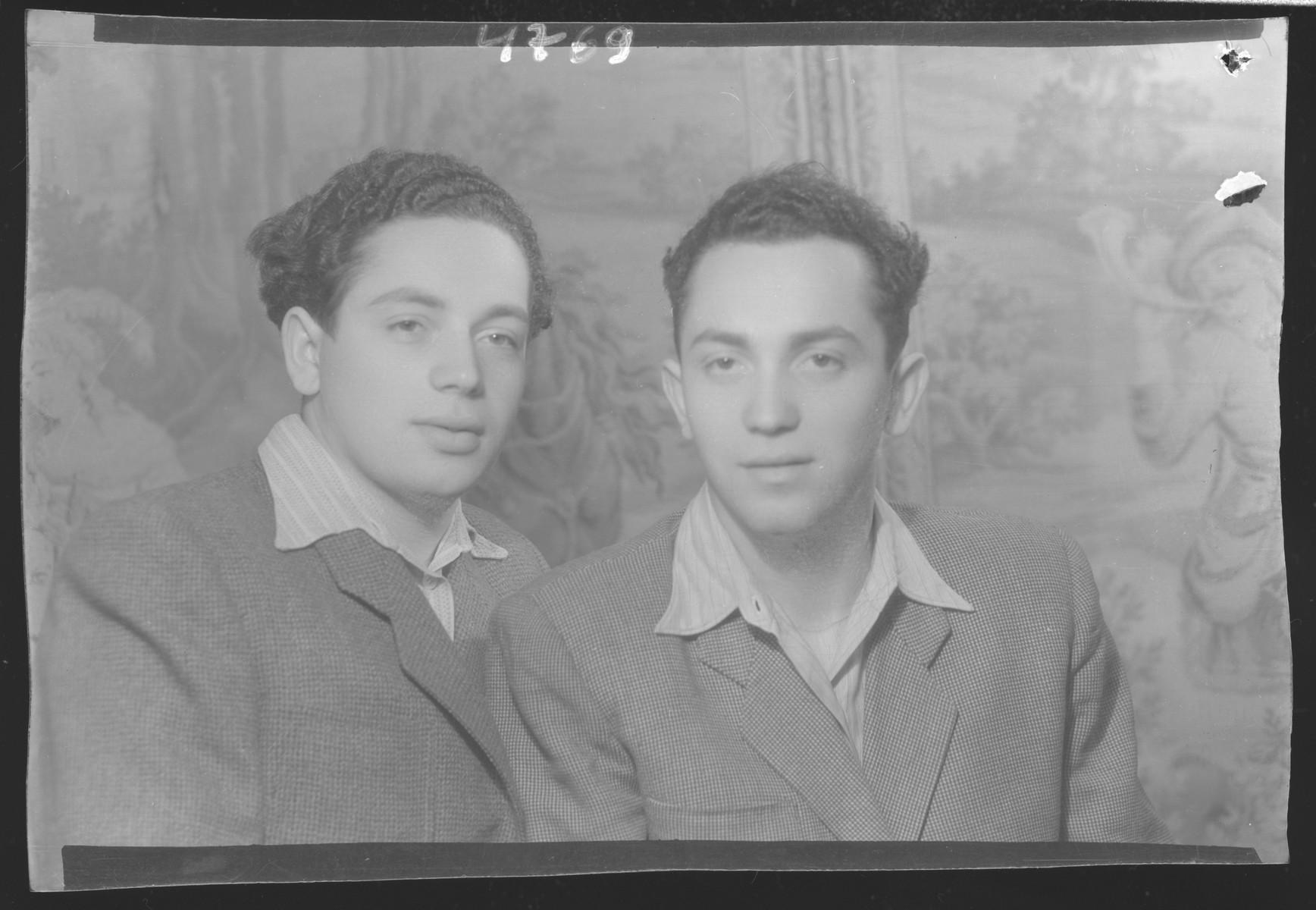 Studio portrait of Sandor Davidovits and [probably his brother].