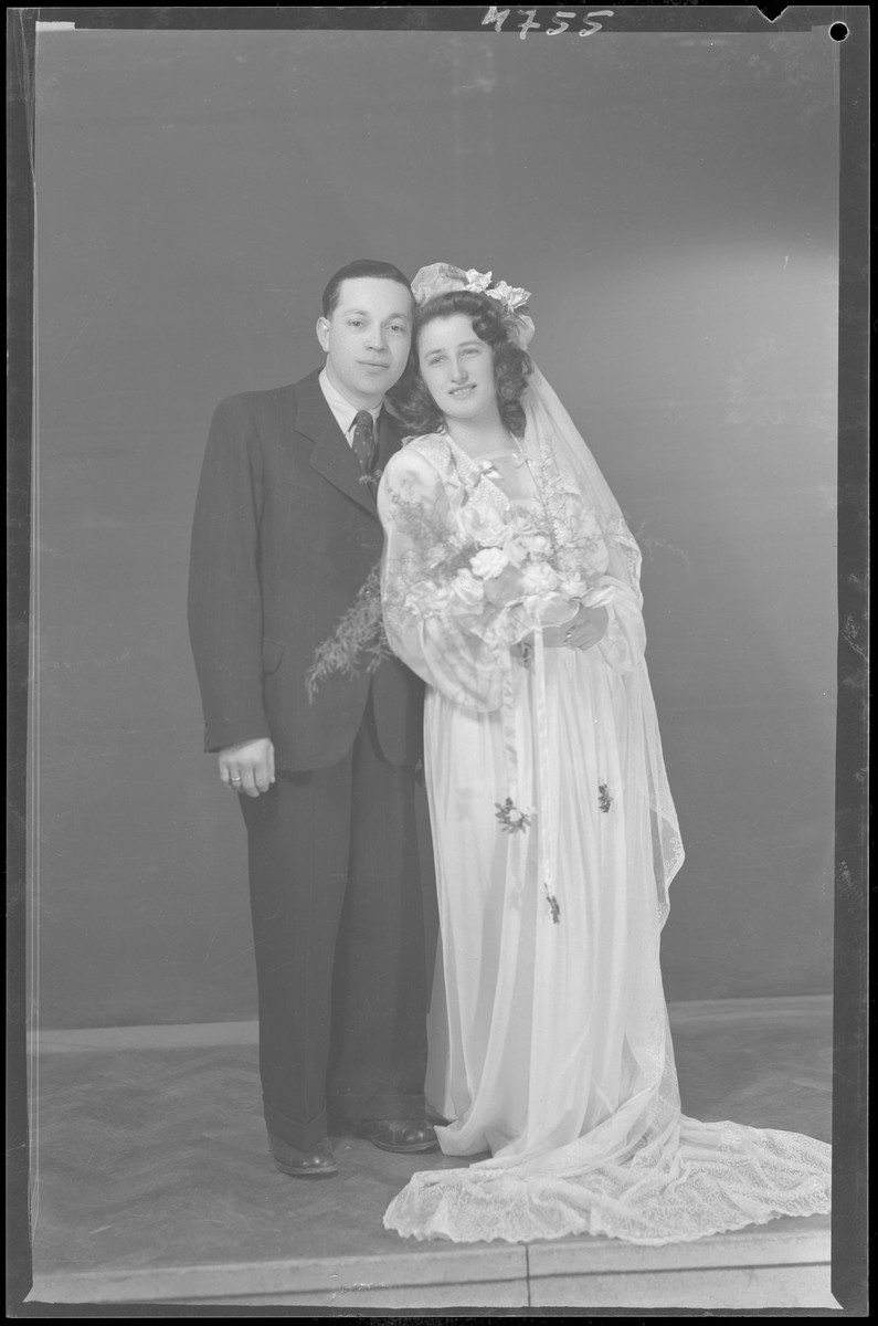 Studio portrait of Sandor Davidovits and his bride.