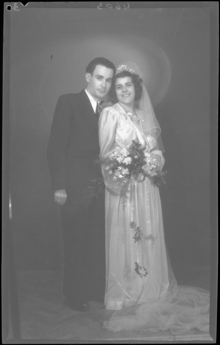 Studio wedding portrait of Herman Fischer and his bridde.