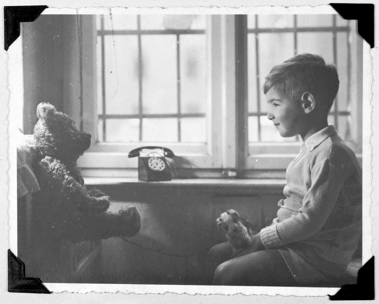 Franz Lieberman has a conversation with his teddy bear.