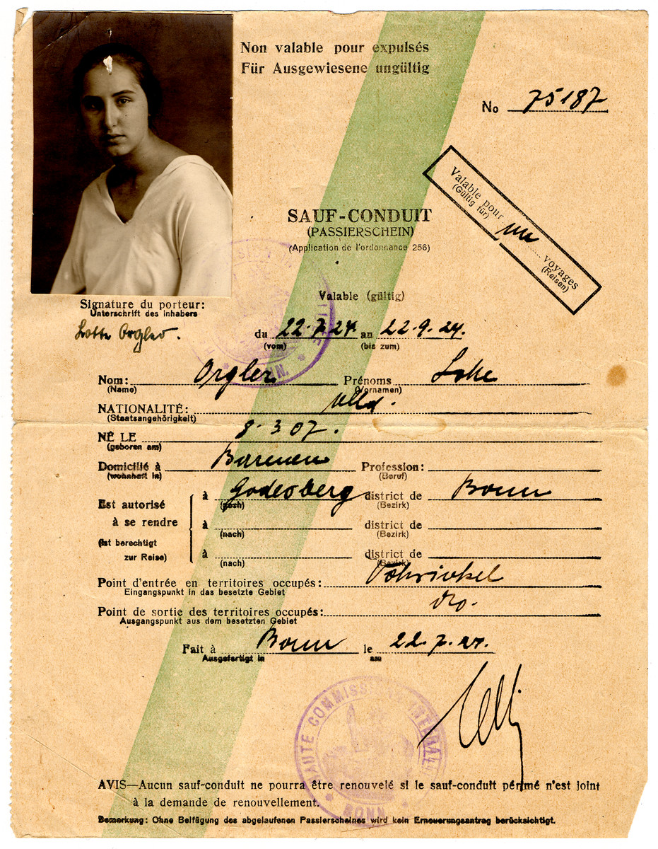 Prewar safe conduct pass issued to Lotte Orgler to serve as a passport for foreign travel.