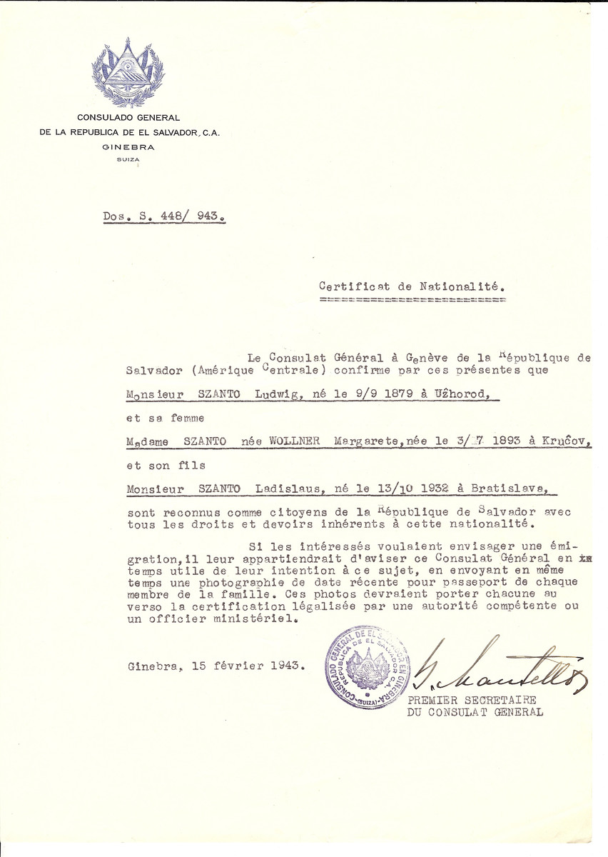 Unauthorized Salvadoran citizenship certificate issued to Ludwig Szanto (b. 09/09/1879 in Uzhhorod), his wife Margarete (Wollner) Szanto (b. 07/03/1893 in Krucov), and their child Ladislaus (b. 10/13/1932 in Bratislava) by George Mandel-Mantello, First Secretary of the Salvadoran Consulate in Switzerland.