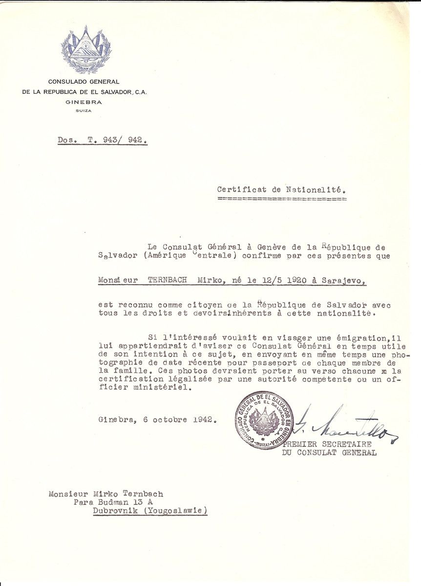 Unauthorized Salvadoran citizenship certificate issued to Mirko Ternbach (b. May 12, 1920, Sarajevo,Yugoslavia)  by George Mandel-Mantello, First Secretary of the Salvadoran Consulate in Switzerland. The document was mailed to Ternbach's residence in Dubrovnik, Yugoslavia.